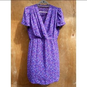 Vintage purple splatter short sleeve midi dress 14